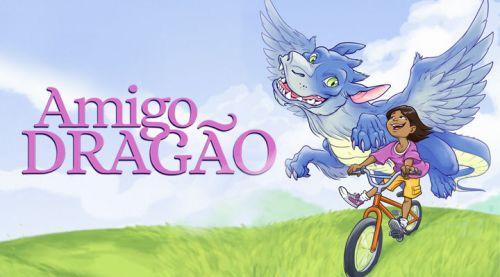 Amigo Dragão - Criança brincando com uma bicicleta e seu amigo dragão azul