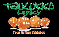 Logotipo Taulukko Legacy - 4 dados rolando e o texto : Your Online Tabletop