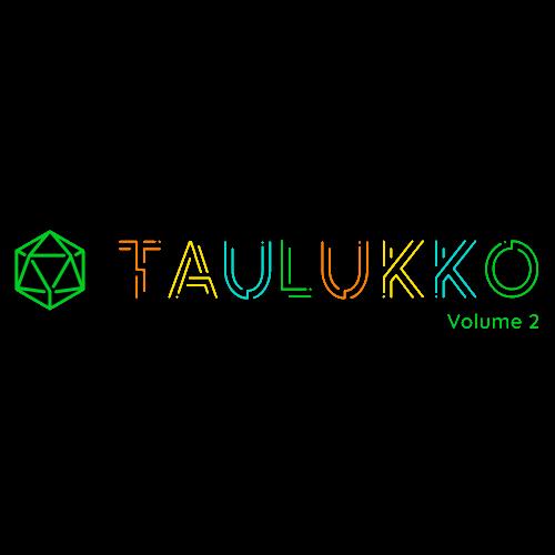 Logo do Taulukko Volume 2, com letras coloridas parecendo um labirinto e um dado de 20 faces.
